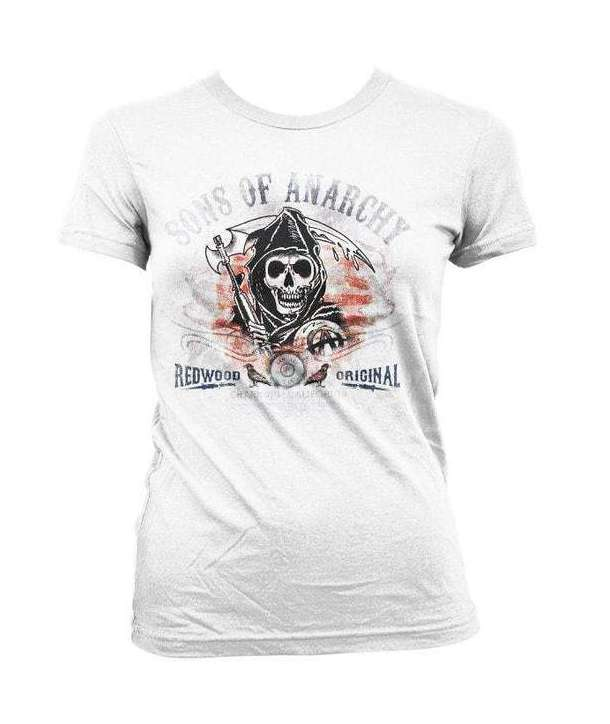 Camiseta para chica SONS OF ANARCHY - Flag Distressed Blanca
