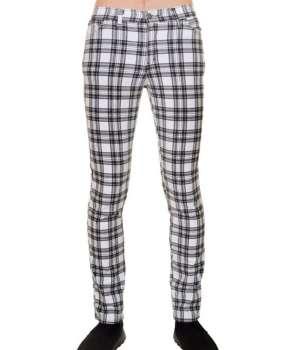 Pantalón Elástico Escocés Blanco Regular Fit