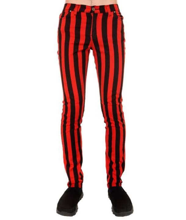 Pantalón Elástico Rojo Negro Rayas Verticales