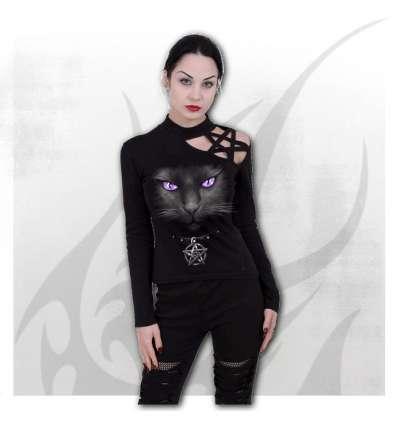 Camiseta BLACK CAT Pentagram Chica Spiral