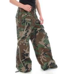 Pantalón Militar Camuflaje Cadenas Aros Cromados